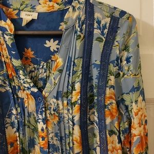 Anthropologie Tiny blue floral pintuck dress XS
